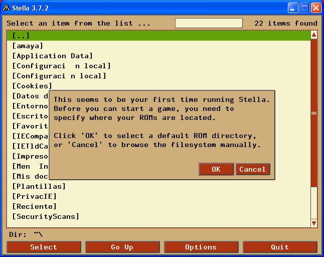 La primera vez que lo ejecutamos Stella nos pregunta en que directorio están nuestras ROMS